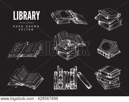 Set Of Hand Drawn Chalk Books On Black Background For Library. Vector Illustration Of Sketch Of Book
