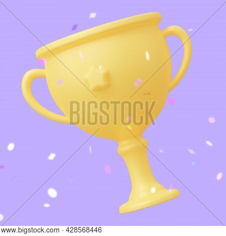 Cup Award With Confetti. The Concept Of An Achievement Award. 3d Rendering Illustration