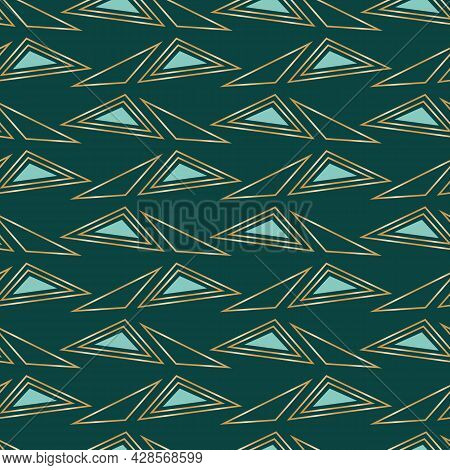 Vector Gold Teal Triangles Emerald Seamless Pattern