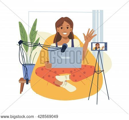 Woman Blogger With Camera Speaks In Mic. Vector Caucasian Girl Vlogger Or Coach Record Live Virtual