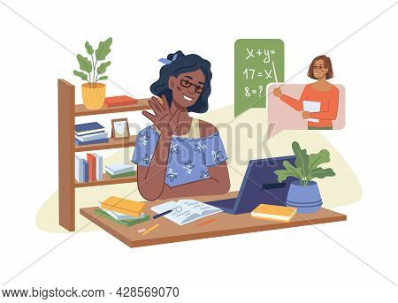 Young Afro American Girl Has Online Lesson On Math, Teacher Explaining New Lesson On Video Chat, Onl