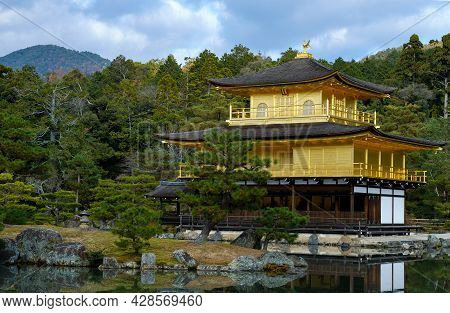 Close Up Kinkakuji Temple With Water Reflection In Winter Season ,the Famous Golden Pavilion In Kyot