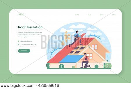 Roof Insulation Web Banner Or Landing Page. Thermal Or Acoustic Insulation.