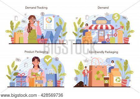 Commercial Activities Set. Entrepreneur Tracking Demand Of Goods. Marketing Data