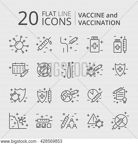 Vaccination And Immunization Line Icon Set. Collection Of Editable Stroke Symbols. Vaccines Against