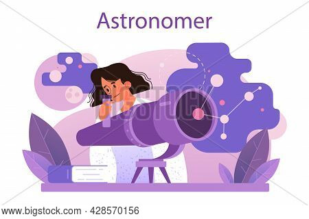 Astronomer Concept. Professional Scientist Looking Through A Telescope