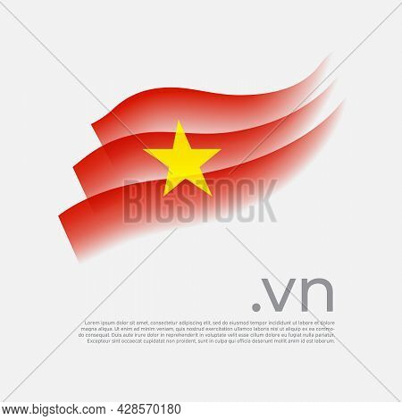 Vietnam Flag Watercolor. Colored Stripes Vietnamese Flag On A White Background. Vector Stylized Desi