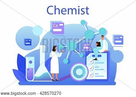 Chemist Concept. Chemistry Scientist Doing An Experiment In The Laboratory.