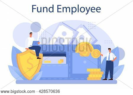 Pension Fund Employee. Specialist Helps Senior People To Save Money