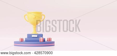 Victory Cup On A Pedestal With Gifts. An Illustration With An Empty Space. 3d Rendering.