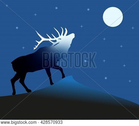 Illustration Of A Deer Standing On A Rock And Looking Up, In The Night Sky The Moon, Stars, And The