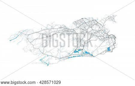 Rio De Janeiro Map. Detailed Map Of Rio De Janeiro City Administrative Area. Cityscape Panorama. Roy