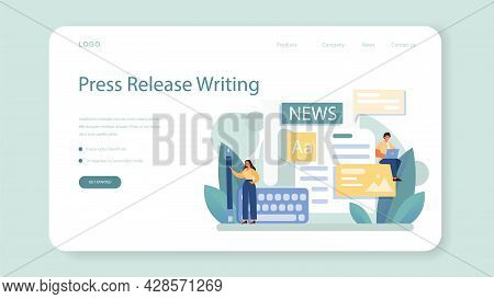 Press Release Web Banner Or Landing Page. Mass Media Publishing