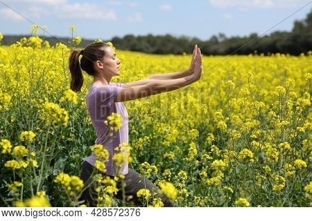 Profile Of A Woman Doing Tai Chi Exercise Standing In A Yellow Field
