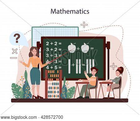 Math School Subject. Students Studying Mathematics. Science, Technology