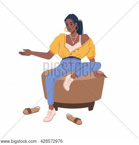 Girl Choosing New Pair Of Shoes Sitting On Pouf Or Ottoman Isolated Flat Cartoon Character. Vector P