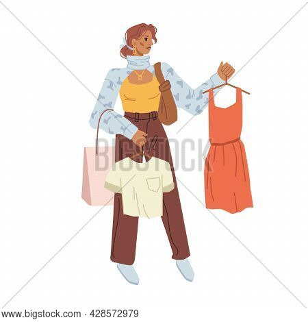 Buyer Woman Choosing Perfect Look, Cloth On Hangers In Hands Isolated Flat Cartoon Character. Vector