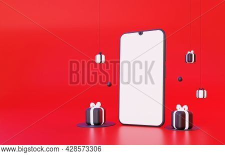 A Mock-up Of A Mobile Smartphone With A Blank Screen. With Black And White Gifts On A Red Background