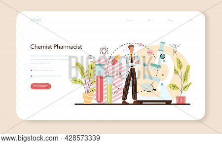 Chemist Pharmacist Web Banner Or Landing Page. Pharmacist Inventing Drugs