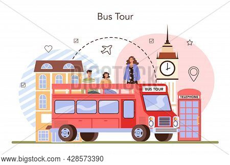 Tour Guide Concept. Bus Tour, Tourists Listening To The History Of The City