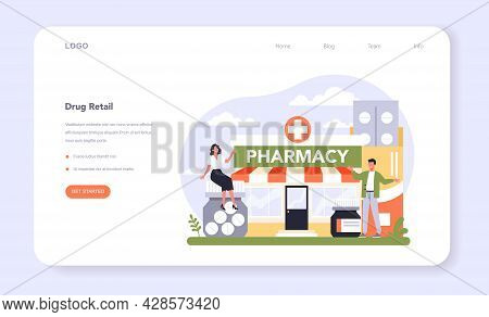 Drug Retailing Industry Sector Of The Economy Web Banner Or Landing Page