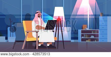 Arab Businessman Freelancer Working On Laptop Arabic Man Using Notebook Social Media Network Communi