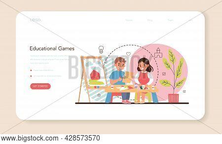 Kindergartener Web Banner Or Landing Page. Professional Nany