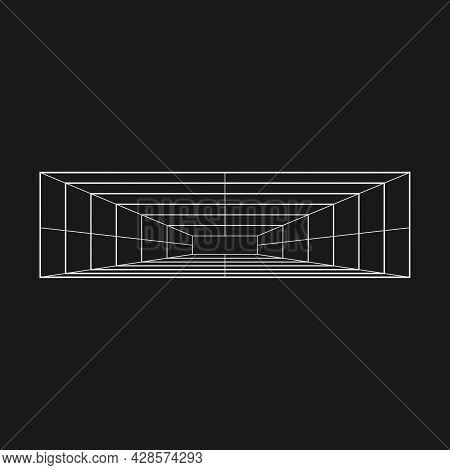 Retrofuturistic Perspective Rectangular Tunnel. Cyber Retro Design Element. Grid Tunnel In Cyberpunk