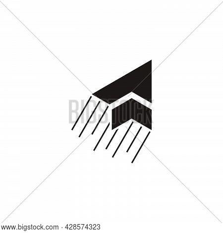 Letter P Swoosh Motion Arrow Symbol Logo Vector
