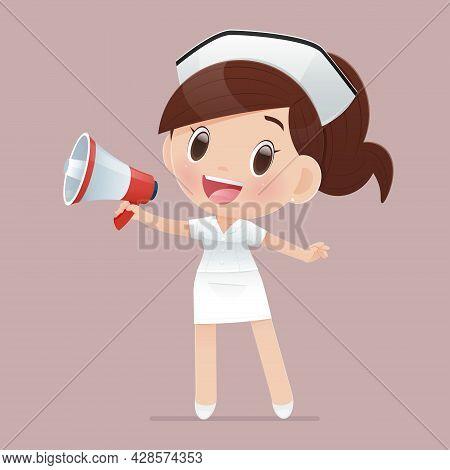 The Cartoon Nurse Wears A White Uniform Shouting Through A Megaphone