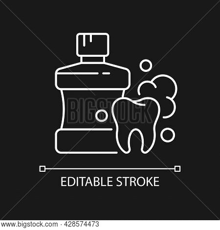 Mouthwash For Teeth Health White Linear Icon For Dark Theme. Oral Rinse. Prevent Teeth Decay. Thin L