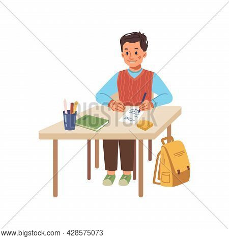 Boy Writing Down Lecture In Notebook, Isolated Pupil Sitting By Desk With Supplies, Textbook And Pen