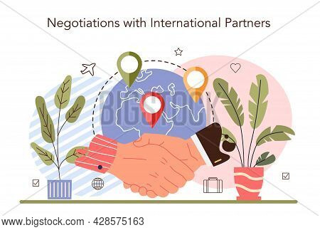 International Negotiations Concept. Business Planning And Development