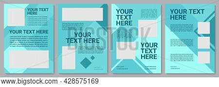 Turquoise Colorful Brochure Template. Flyer, Booklet, Leaflet Print, Cover Design With Copy Space. Y