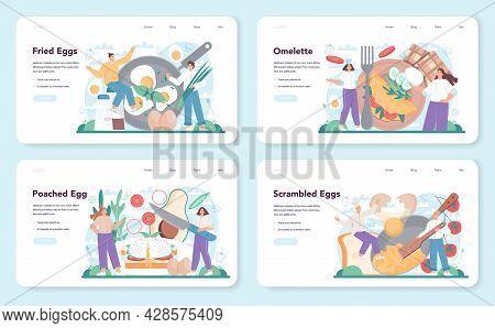 Tasty Fried Eggs Web Banner Or Landing Page Set. Scrambled, Fried,