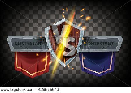 Vs Fight Game Badge, Vector Versus Battle Logo, Iron Letters, Wooden Medieval Shield, Team Banner, S