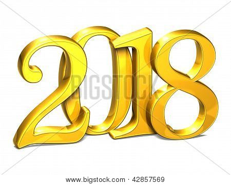 3D Gold Year 2018 On White Background