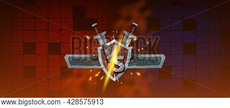 Vs Game Background, Vector Esport Versus Battle Banner, Medieval Wooden Shield, Stone Frame, Sword.