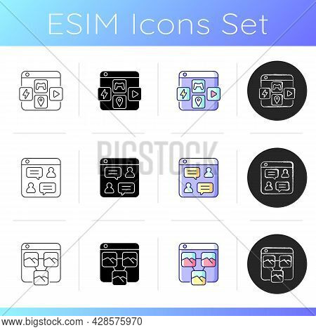 Launching Online Services Icons Set. App Distribution Platform. Online Forums. Photo Sharing. Chat R