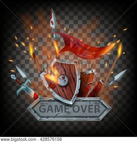 Game Over Vector Badge, Medieval Final Battle Sign, Wooden Shield, Sword, Burning Flag, Fire, Sparks