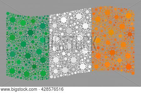 Waving Mosaic Ireland Flag Designed Of Virulent Items. Ireland Flag Collage Is Constructed With Rand