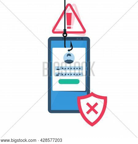Hacked Account. Fraudster Steals Personal Data. Account Theft. Fishing Hook, Steals Data From The Ph