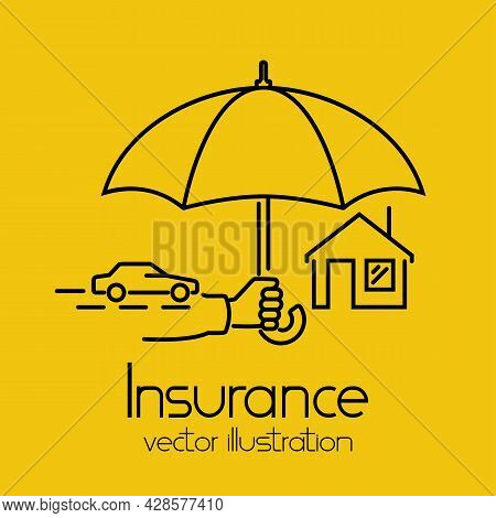 Property Protection Concept. Modern Line Abstract Design. Hand Insurer With An Umbrella That Protect