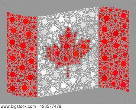 Waving Mosaic Canada Flag Constructed Of Covid-2019 Icons. Canada Flag Collage Is Shaped From Random