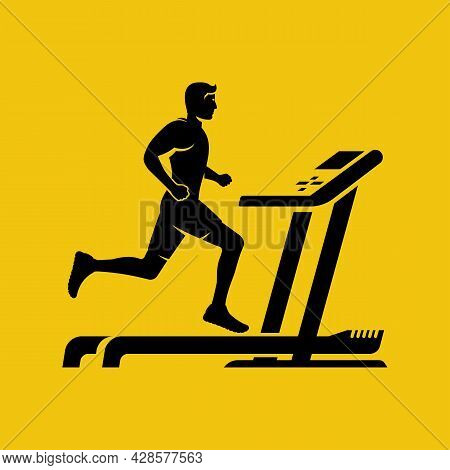 Silhouette Man On A Treadmill. Athlete In Sportswear. Training In Gym. Isolated On Background. Young