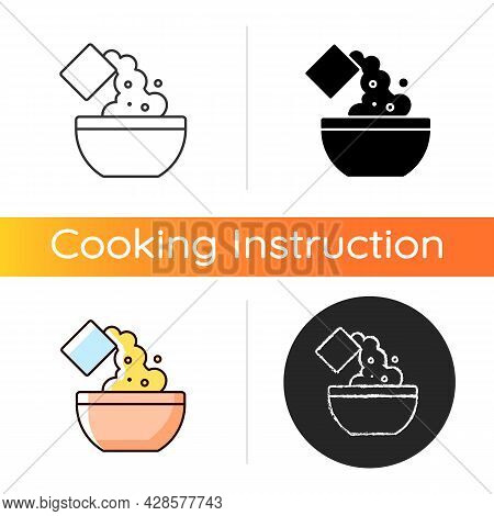 Add Cooking Ingredient Icon. Pour Flour To Mixture. Baking Guide Step. Cooking Instruction. Food Pre