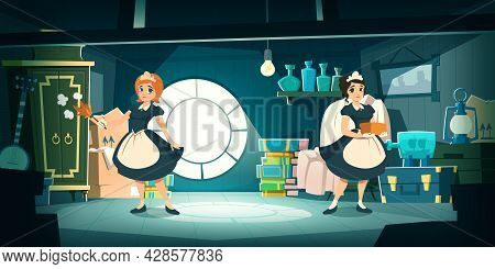 Housemaids Clear On House Attic With Storage Of Old Furniture And Items. Vector Cartoon Interior Of