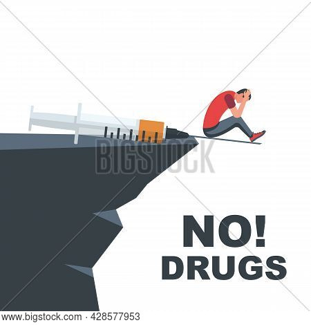 International Day Against Drug Abuse. No Narcotic. Man With Needle Over The Abyss. June 26 Landing P