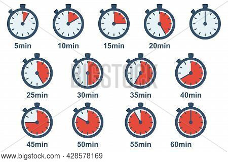 Timer Icons Set. Stopwatch 5, 10, 15, 20, 25, 30, 35, 40, 45, 50, 55, 60 Minutes. Time Clock Icon Co