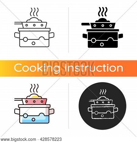 Steam For Cooking Icon. Boil Water In Pot To Cook Meal On Pan. Dinner Recipe. Cooking Instruction. F